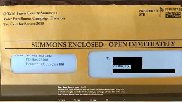 ted cruz mailers that look like legal summonses are illegal