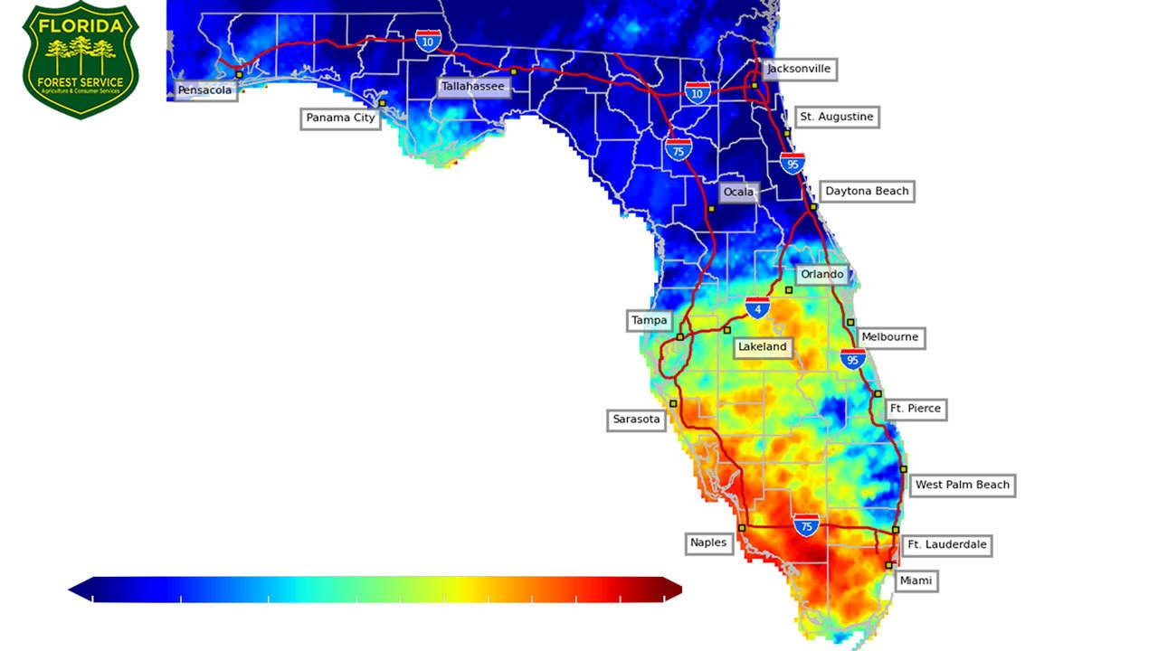 Florida Forest Fire Map.Above Average April Rainfall Locally Drier Fire Prone In