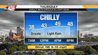 KSAT Weather: Slight chance of rain and still chilly on Thursday