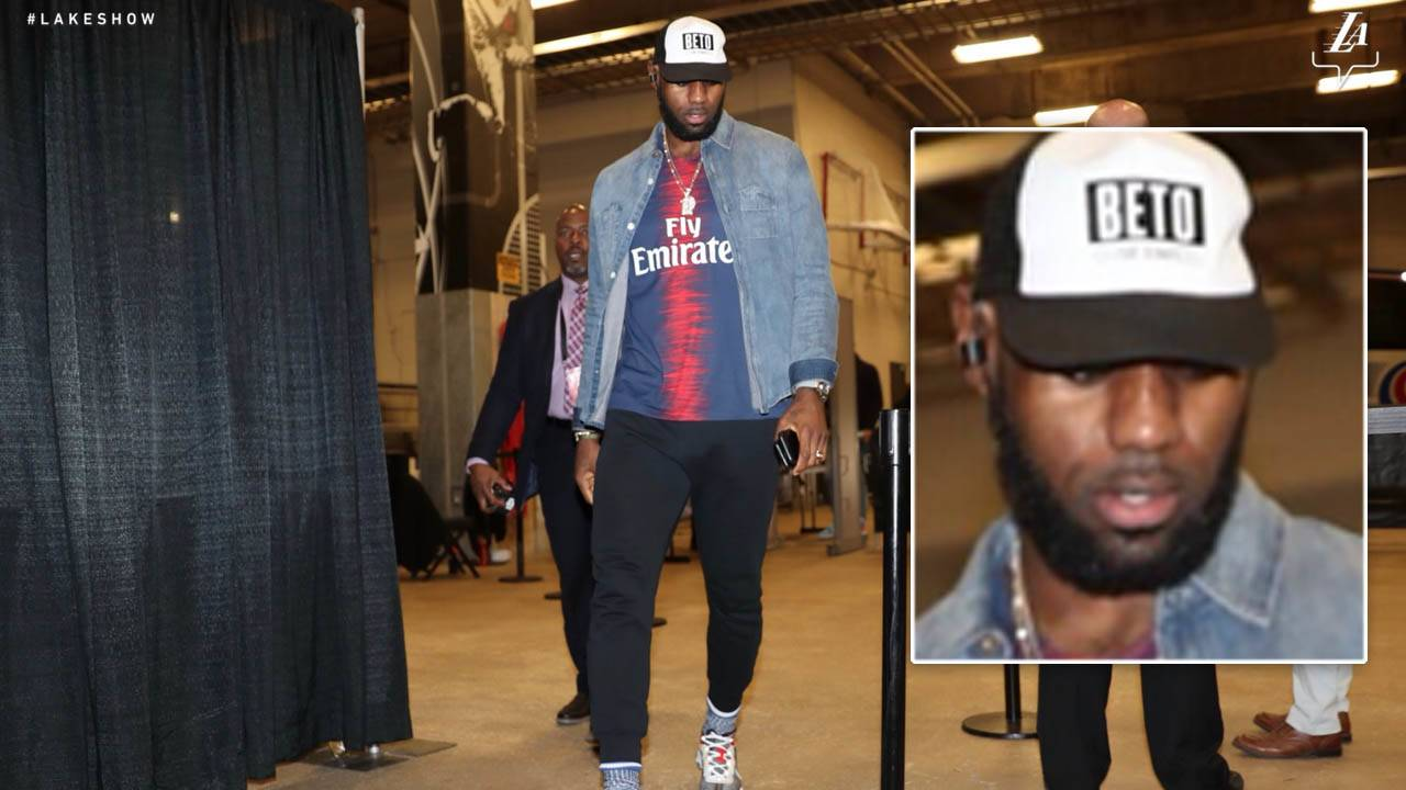 25beefeac91e LeBron James arrives at AT T Center in  Beto for Senate  hat ahead of Spurs  game