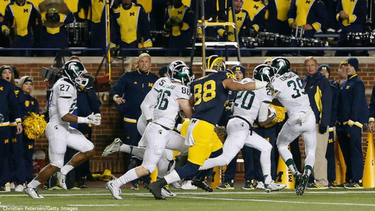 Michigan vs Michigan State 2015 last play fumbled snap