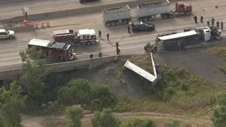 Semi truck crash on WB I-94 at Rouge River creates massive