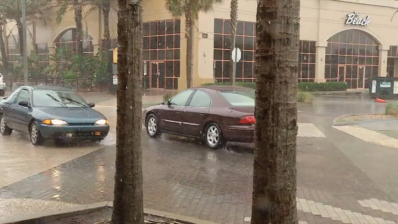 Wind, rains in Jacksonville Beach