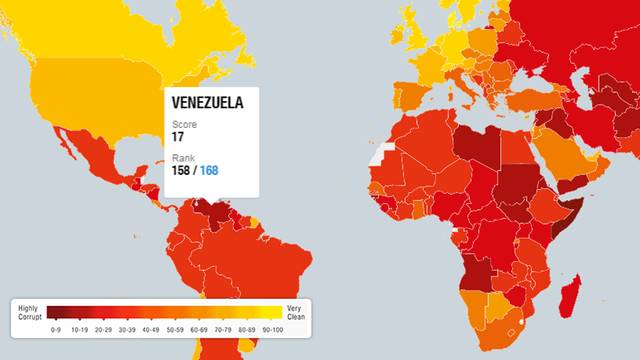Venezuela tops list of most corrupt countries