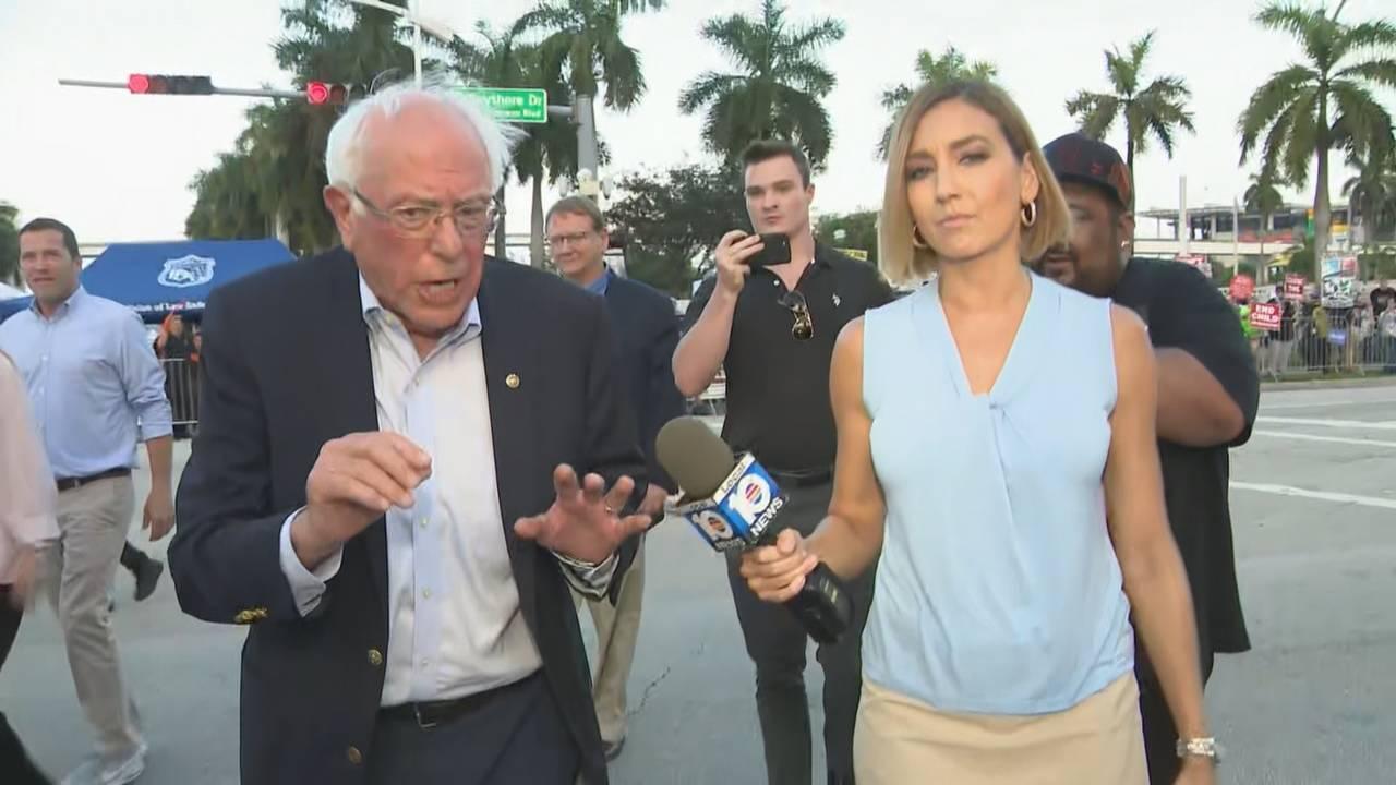 Bernie Sanders speaking to Janine