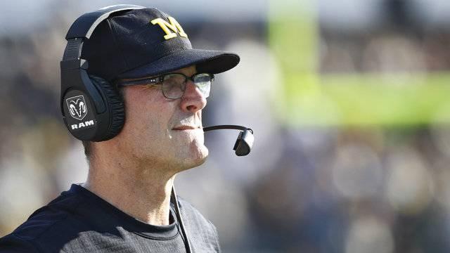 Jim Harbaugh close-up Michigan football vs Purdue 2017