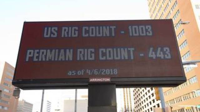 An electronic sign in downtown Midland displays the latest oil and gas prices along with rig count totals for both the Permian Basin and United States.
