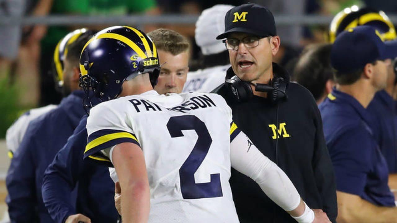 Jim Harbaugh and Shea Patterson Michigan football vs Notre Dame 2018