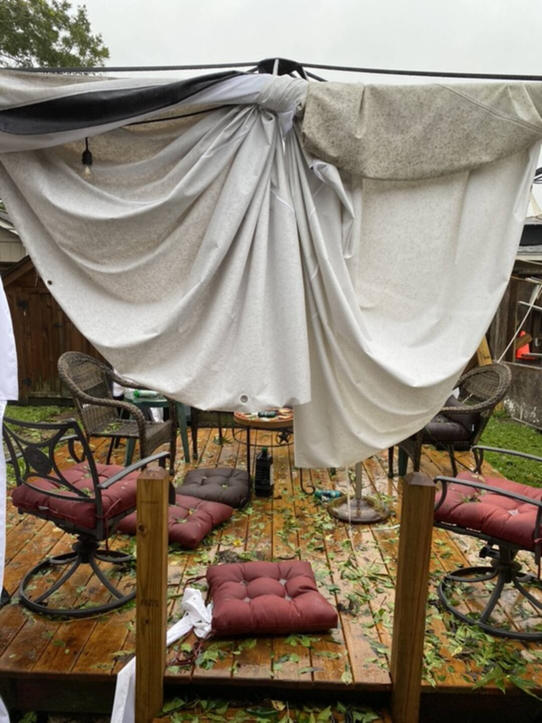 Another view of damage to our canopy in the backyard