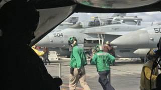 Navy aviators, crew display flight ops aboard USS Harry Truman