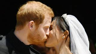 Harry and Meghan share first kiss as husband and wife