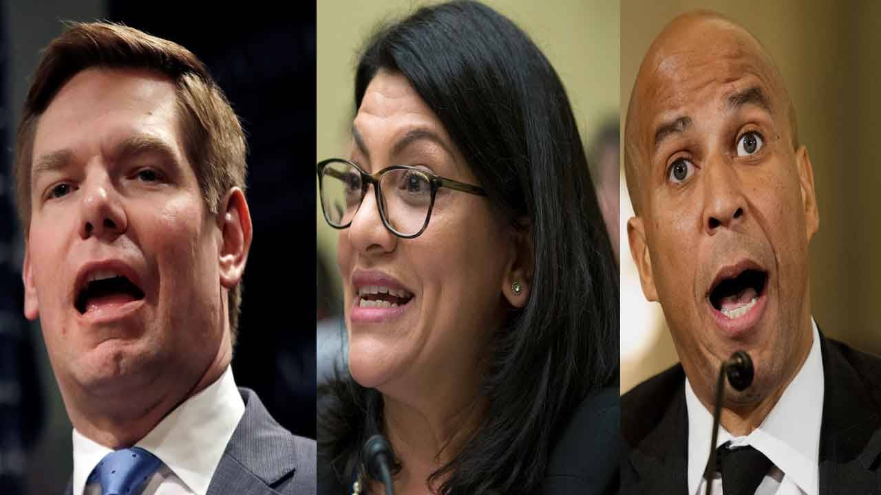 Eric Swalwell, Rashida Tlaib and Corey Booker