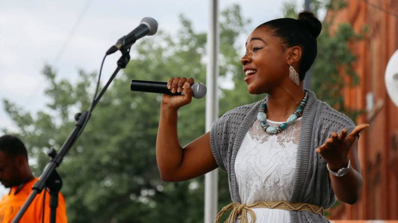 African American Downtown Festival singer