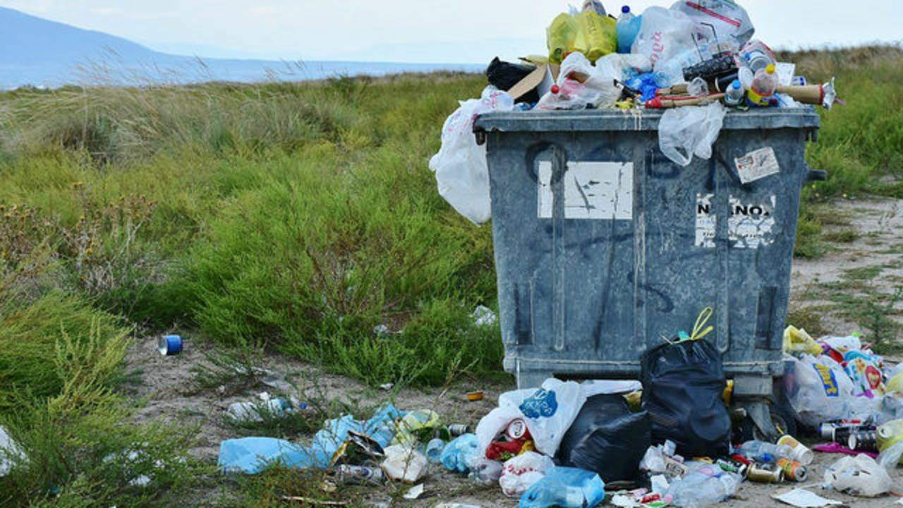 Trash in field