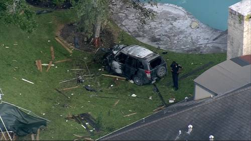 Teen leads police on brief chase before fiery crash in backyard of southwest Houston home