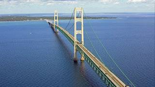 See Michigan's Mackinac Bridge from the International Space Station