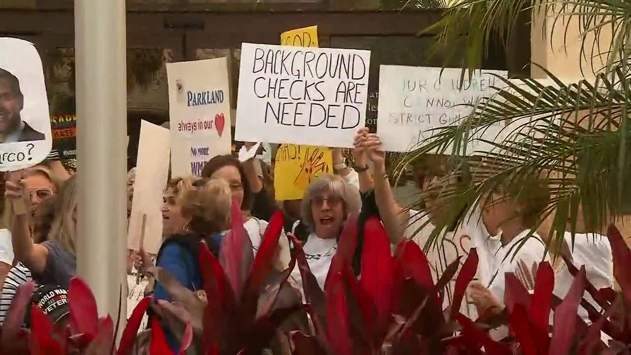 Background checks are needed sign at Delray Beach rally