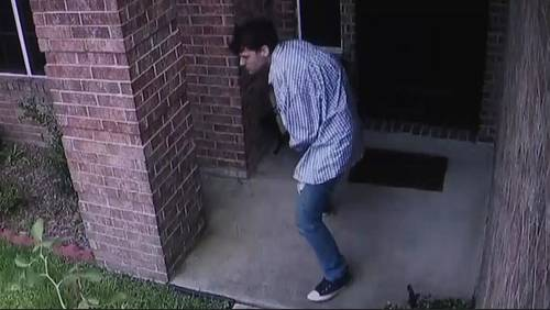 Porch pirate caught on camera stealing package from Pearland home