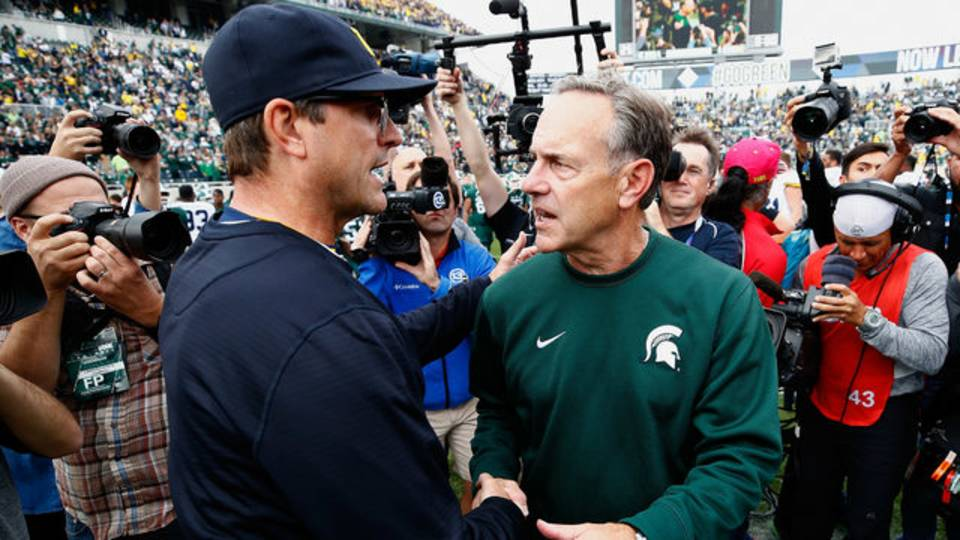 Jim Harbaugh and Mark Dantonio Michigan football vs Michigan State 2016