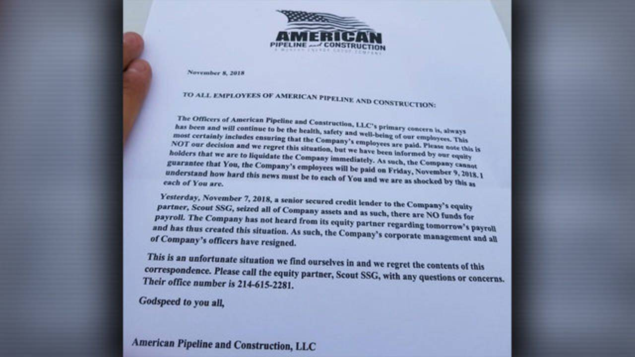 American Pipeline and Construction letter to employees