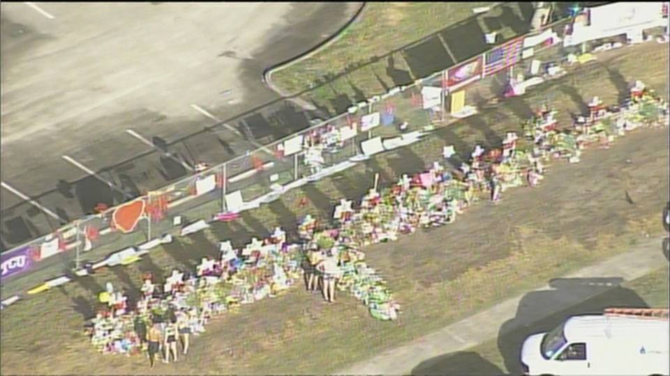 Memorial outside Marjory Stoneman Douglas High School