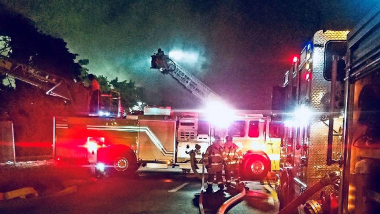 Firefighters at Ferrous Processing & Trading Co. recycling plant