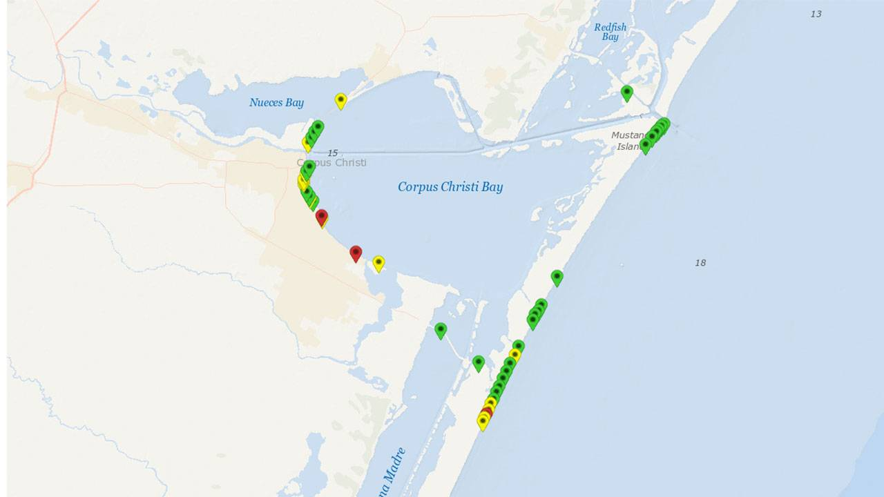 Map Of Texas Coastline.Fecal Bacteria Alert At Some Texas Beaches Ahead Of Spring Break
