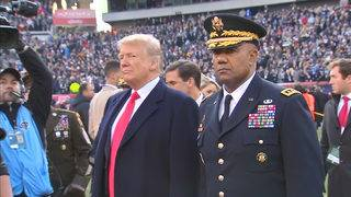 Trump flips coin at Army-Navy game
