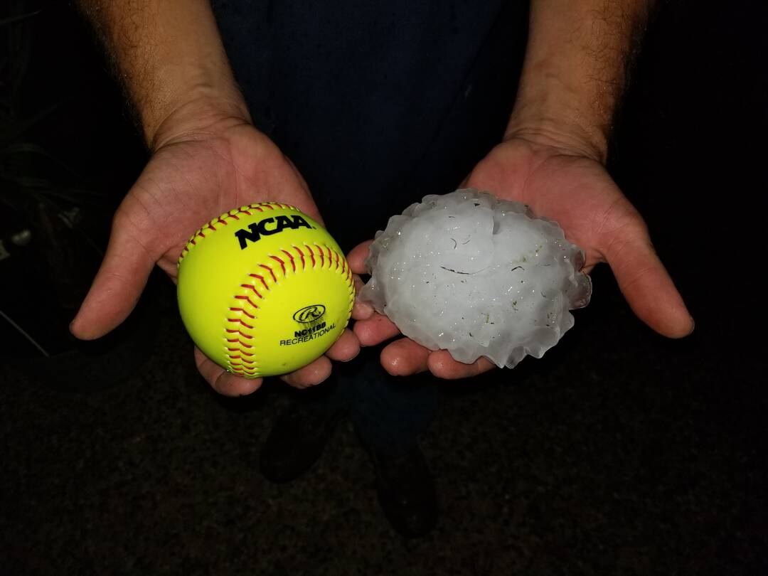 Softball size hail off Sulpher Springs and S. Foster Rd.