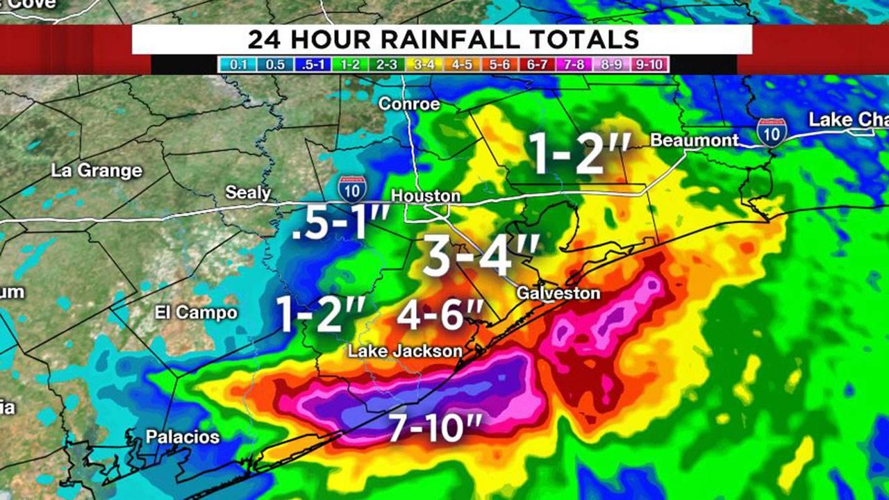 Imelda 24 hour rainfall total