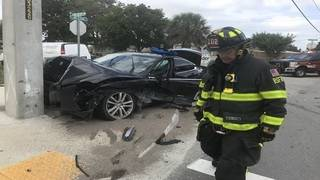 Several people taken to hospital after car crashes into pole in Deerfield Beach