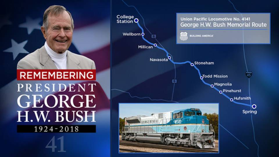 Remembering George HW Bush train route 12-2-2018