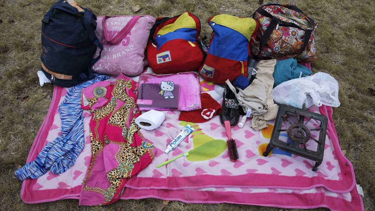 Venezuelan migrants belongings