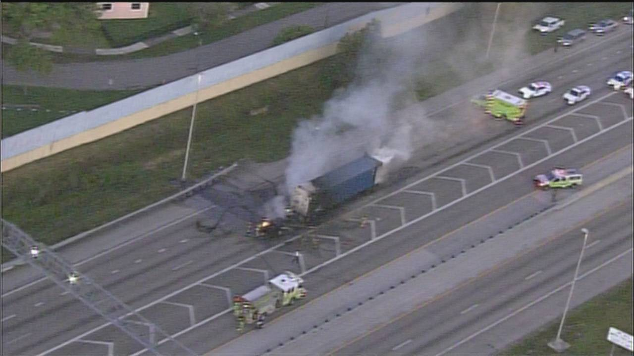 Traffic at standstill after tractor-trailer fire at Golden Glades Interchange