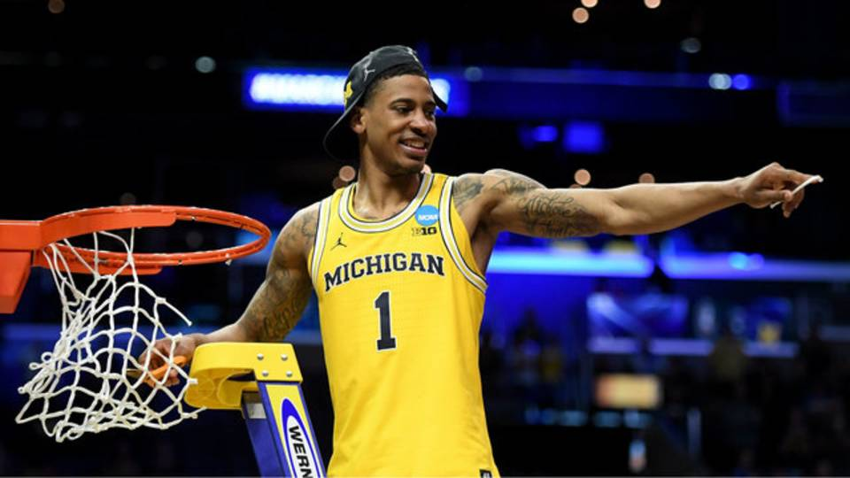 Charles Matthews cuts nets Michigan basketball Elite 8 win 2018