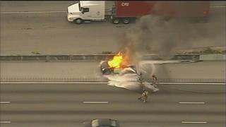 Car fire slows northbound traffic on I-95 in Hollywood