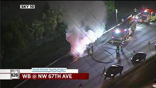 Car catches fire on Palmetto Expressway