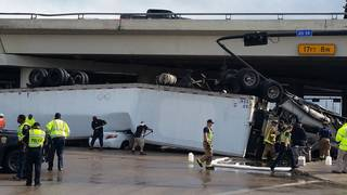Tractor-trailer drives off Highway 59 overpass, lands on car