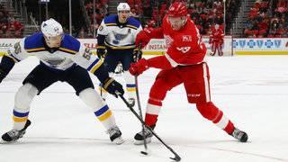 Blues score 4 times in 5-shot span, beat Red Wings 6-1