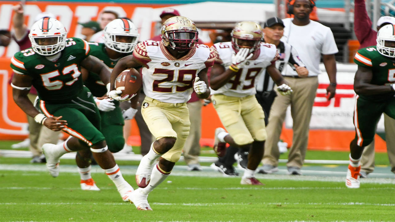 Florida State Seminoles DJ Matthews punt return for TD vs Miami Hurricanes at Hard Rock Stadium