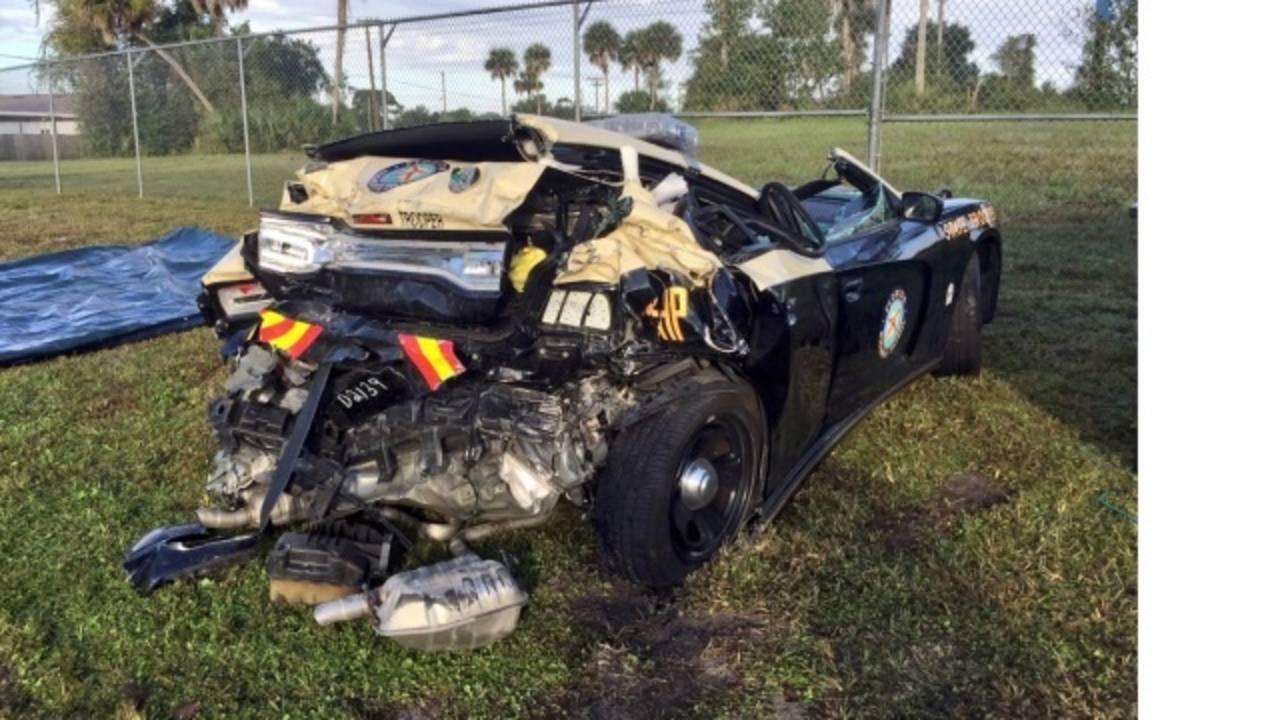 Florida Highway Patrol trooper trapped, injured in I-4 crash