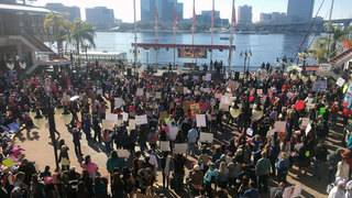 Thousands gather Downtown to support women's empowerment