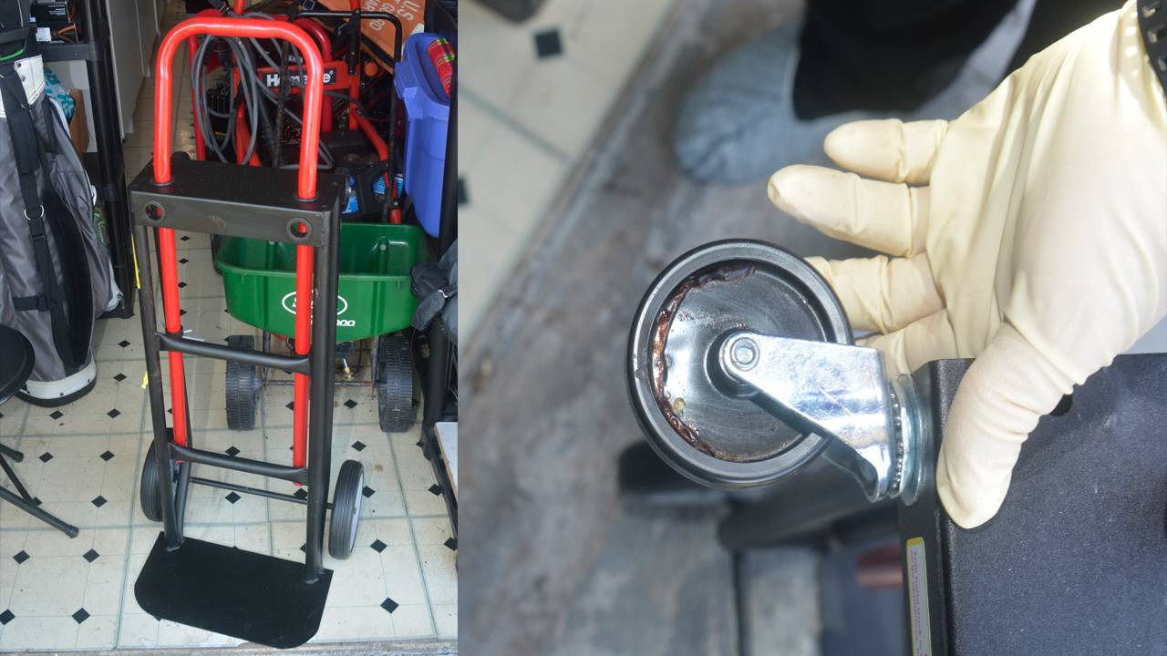 Hand truck with blood drops purchased by James Scandirito II