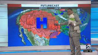 'Angel' joins Khambrel for Sunday morning weather segment on set