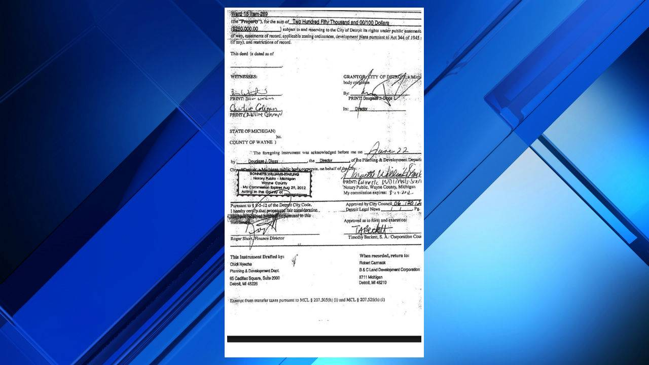 Robert Carmack deed signed by Detroit city officials