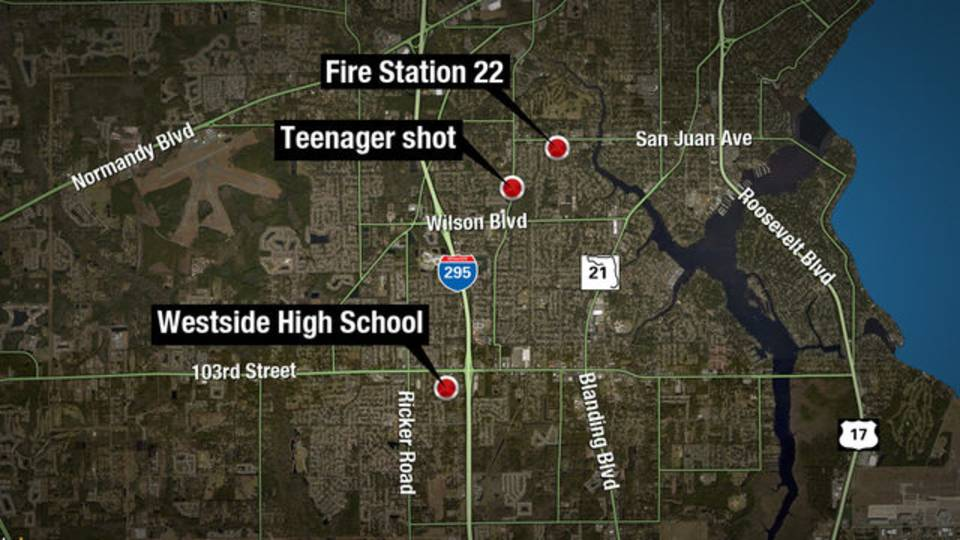 Map - Westside High School, 17-year-old shot, Fire Station 22
