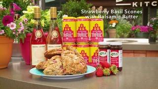 H-E-B Backyard Kitchen: Strawberry Basil Scones with Balsamic Butter