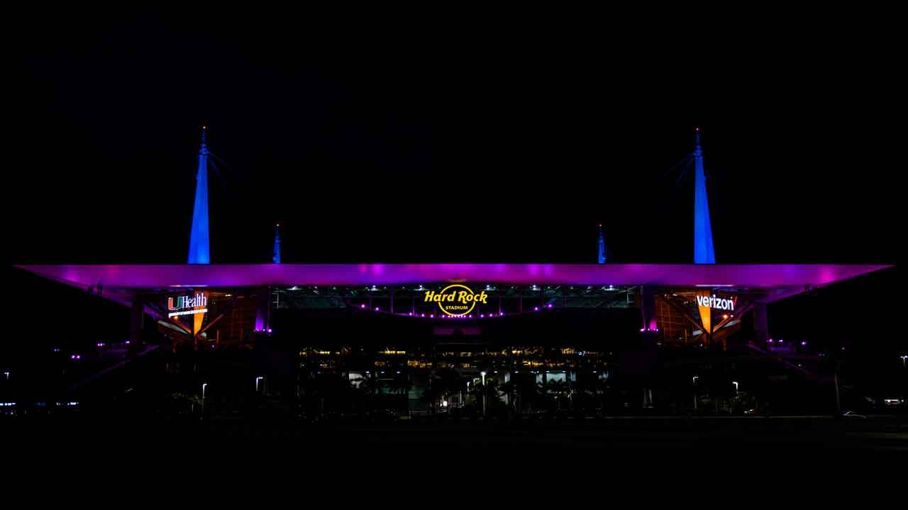 Hard Rock Stadium during 2019 Super Bowl