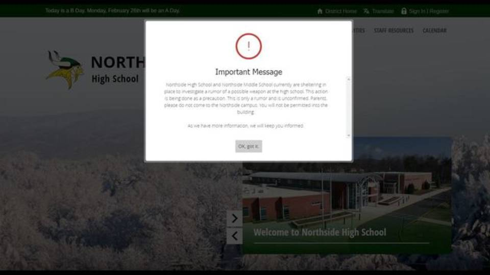 Northside High shelter in place message 022318_1519406769805.JPG.jpg