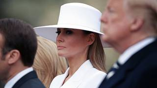 First lady Melania Trump's hat turns heads